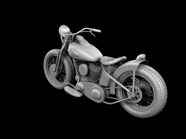 harley-davidson wla bobber 1945 3d model 3ds max fbx c4d obj 155179