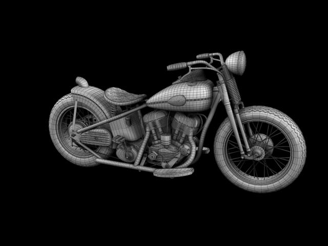 harley-davidson wla bobber 1945 3d model 3ds max fbx c4d obj 155183