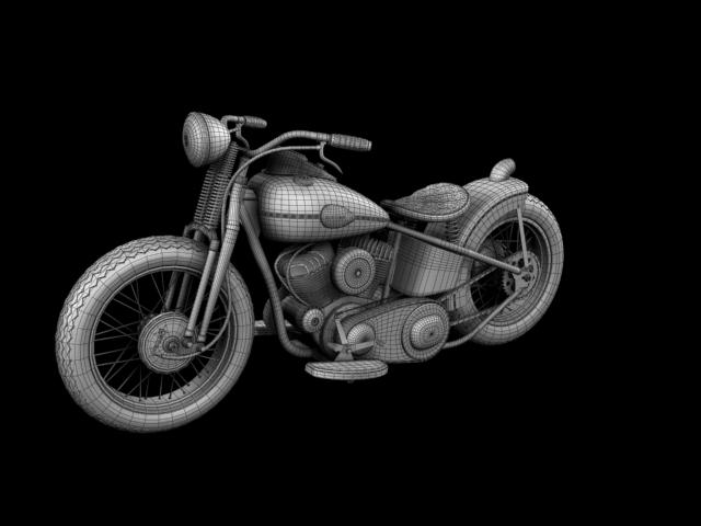 harley-davidson wla bobber 1945 3d model 3ds max fbx c4d obj 155185