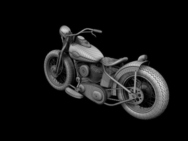 harley-davidson wla bobber 1945 3d model 3ds max fbx c4d obj 155187