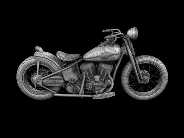 harley-davidson wla bobber 1945 3d model 3ds max fbx c4d obj 155190