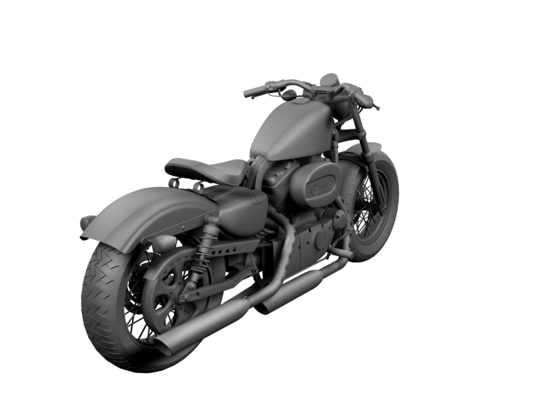 harley-davidson xl1200 sportster forty-eight 2014 3d model 3ds max dxf fbx c4d obj 157859