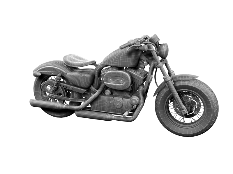 harley-davidson xl1200 sportster forty-eight 2014 3d model 3ds max dxf fbx c4d obj 157861
