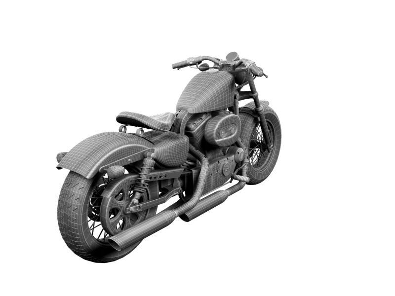 harley-davidson xl1200 sportster forty-eight 2014 3d model 3ds max dxf fbx c4d obj 157866