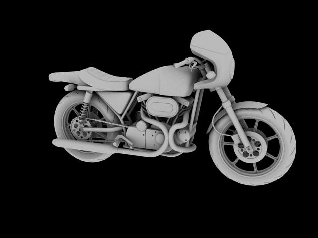 harley-davidson xlcr-1000 kafe racer 1977 3d model 3ds max c4d obj 151867