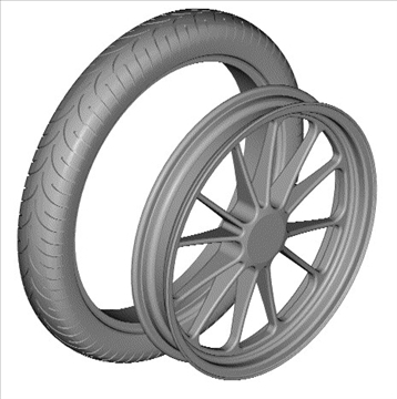 motorcycle front wheel tire 3d model 3ds dxf 99046