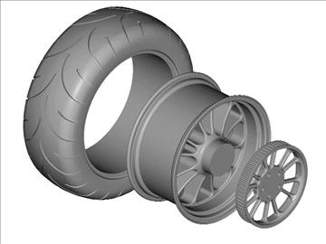 motorcycle rear wheel tire 3d model 3ds dxf 99048