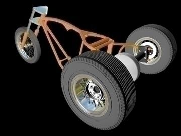 motorcycle trike frame 3d model 3ds dxf 88095