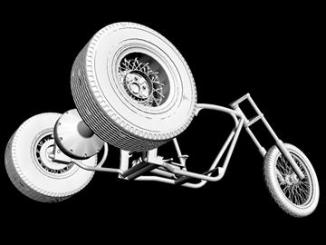 motorcycle trike frame 3d model 3ds dxf 88098