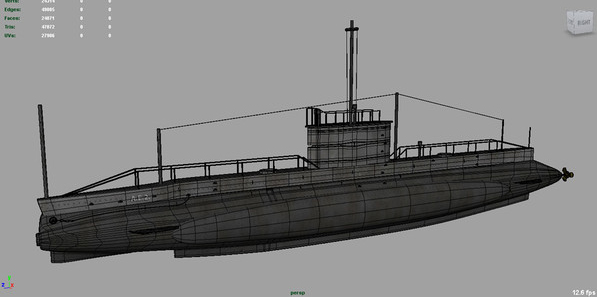 ae2 australia submarine 3d model ma mb 129589
