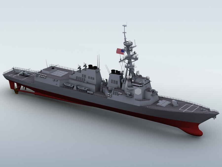 arleigh burke destroyer 3d modelo 3ds max fbx obj 123393