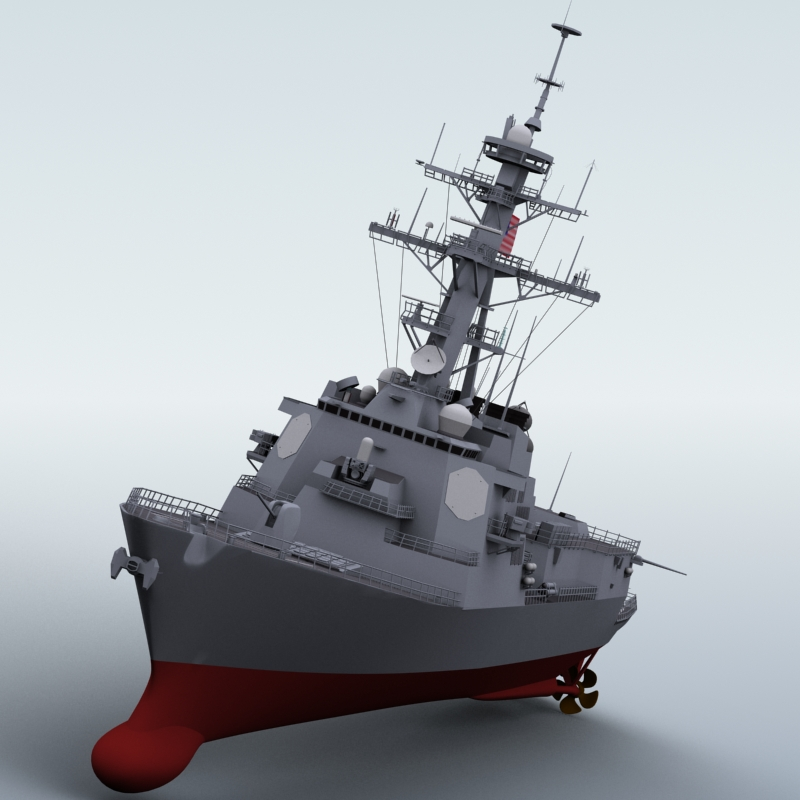 arleigh burke destroyer 3d model 3ds max fbx obj 123394