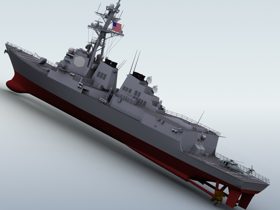 arleigh burke destroyer 3d model 3ds max fbx obj 123395