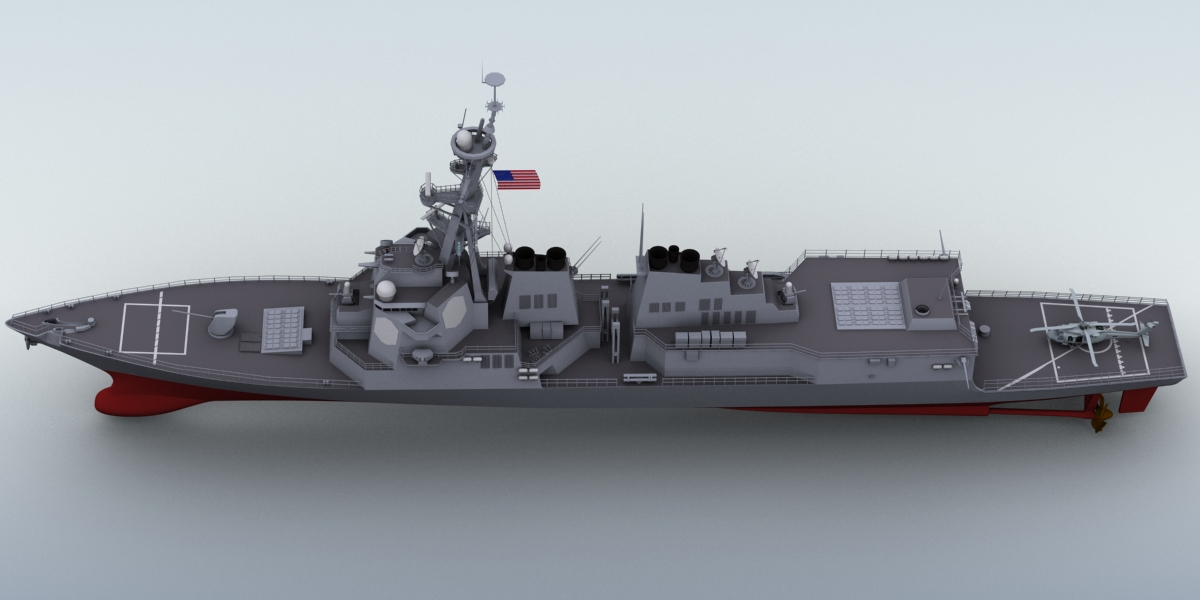 arleigh burke destroyer 3d model 3ds max fbx obj 123396