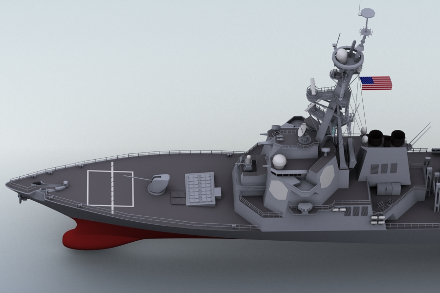 arleigh burke destroyer 3d model 3ds max fbx obj 123397