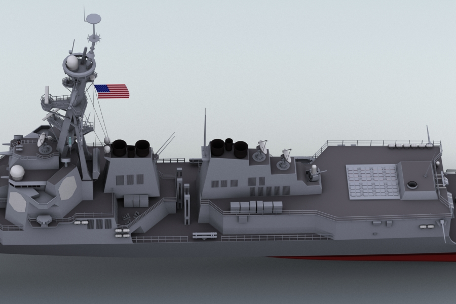 arleigh burke destroyer 3d model 3ds max fbx obj 123398