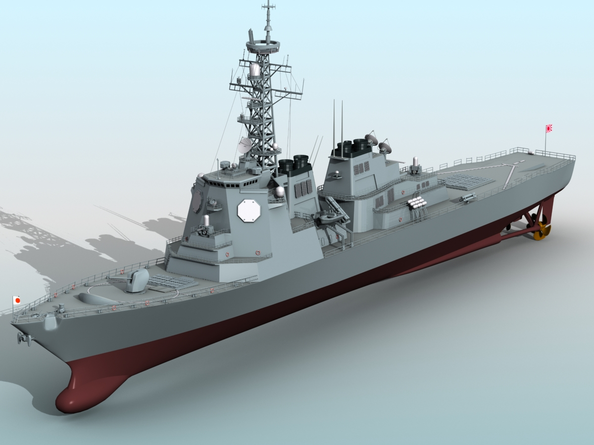 kongo class aeg destroyer 3d model 3ds max fbx obj 122728