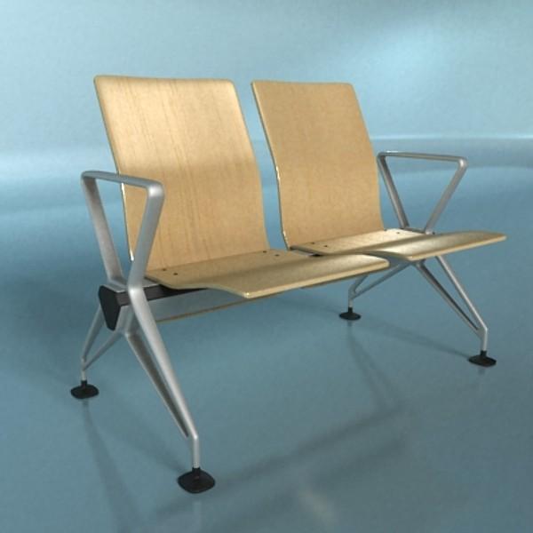 connected seats waiting room 3d model 3ds max fbx obj 129608