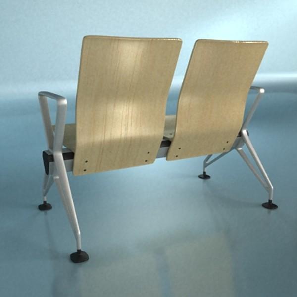 connected seats waiting room 3d model 3ds max fbx obj 129609