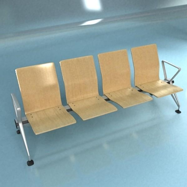 connected seats waiting room 3d model 3ds max fbx obj 129612