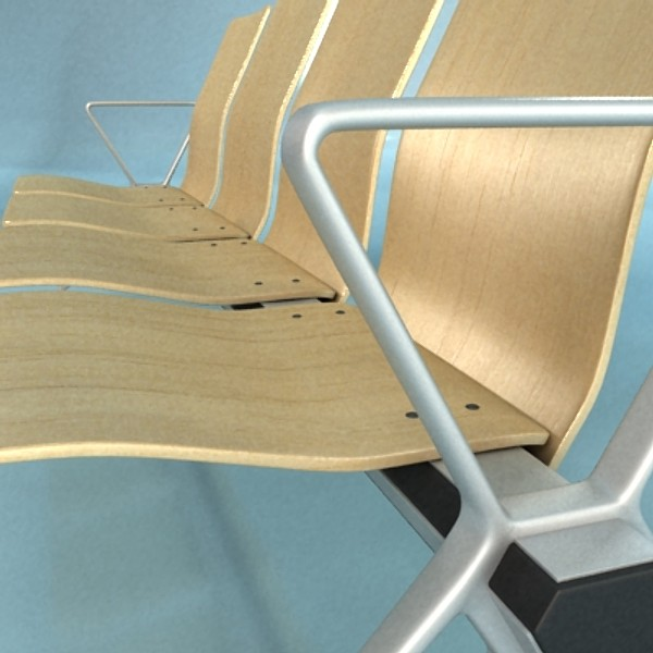 connected seats waiting room 3d model 3ds max fbx obj 129613