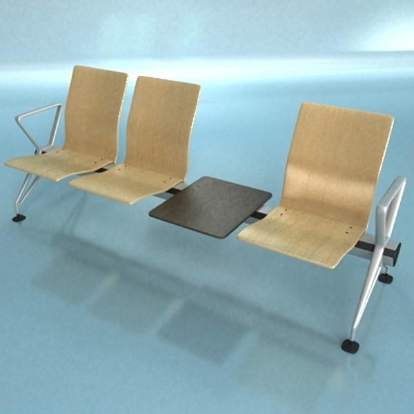 connected seats waiting room 3d model 3ds max fbx obj 129614
