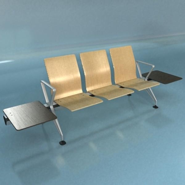 connected seats waiting room 3d model 3ds max fbx obj 129615