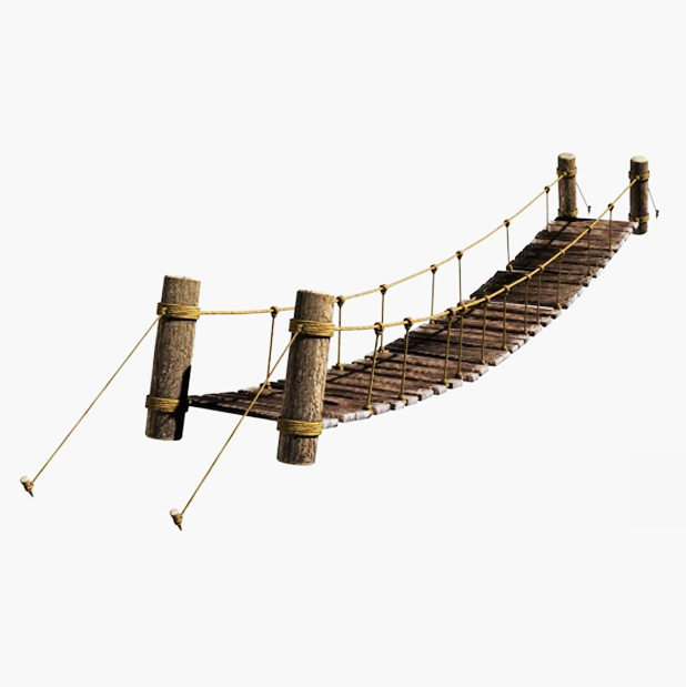 rope & wood plank suspension bridge 3d model 3ds max fbx c4d obj 138707