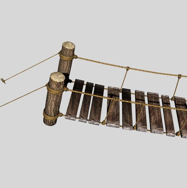 rope & wood plank suspension bridge 3d model 3ds max fbx c4d obj 138708
