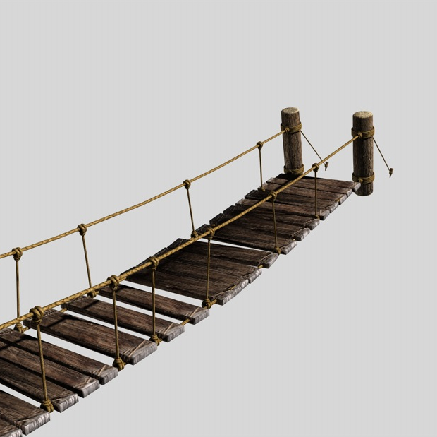 rope & wood plank suspension bridge 3d model 3ds max fbx c4d obj 138709