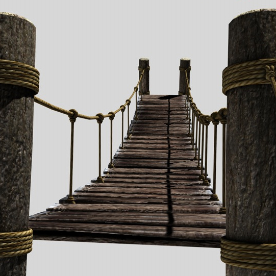 rope & wood plank suspension bridge 3d model 3ds max fbx c4d obj 138710