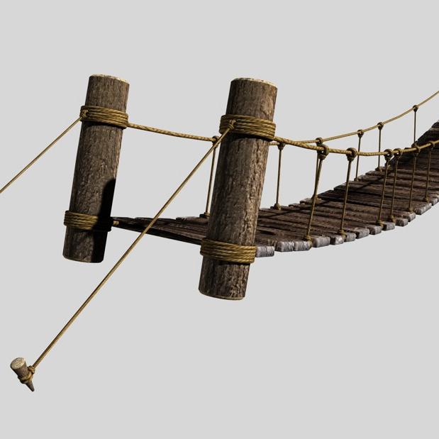 rope & wood plank suspension bridge 3d model 3ds max fbx c4d obj 138711