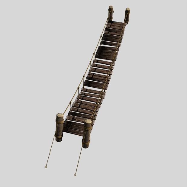 rope & wood plank suspension bridge 3d model 3ds max fbx c4d obj 138712