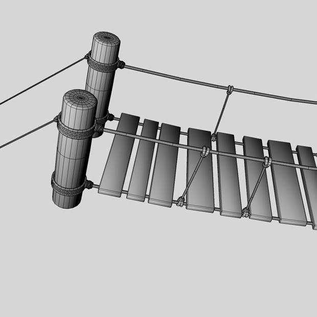 rope & wood plank suspension bridge 3d model 3ds max fbx c4d obj 138714