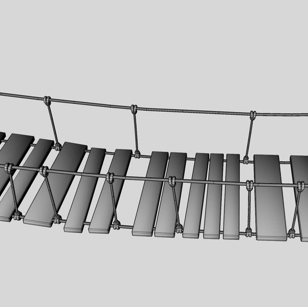 rope & wood plank suspension bridge 3d model 3ds max fbx c4d obj 138716