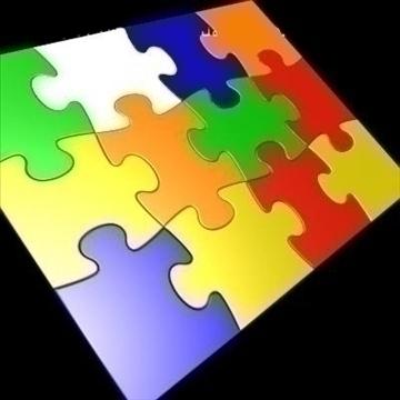 12 ədəd puzzle yapboz bölmələri 3d model 3ds 89793