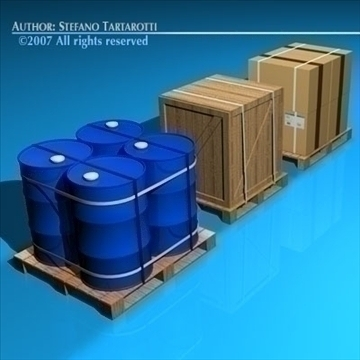 3 pallets 3d model 3ds dxf c4d obj 84929
