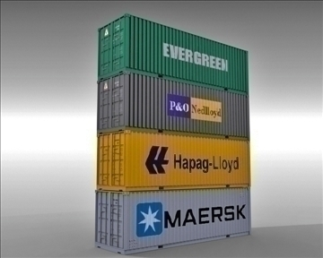 4 container collection 3d model 3ds max obj 110043