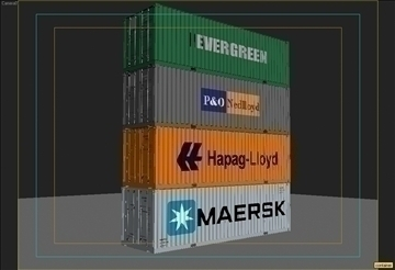 4 container collection 3d model 3ds max obj 110047