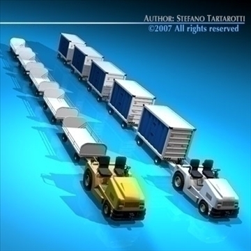 airport baggage trailer 3d model 3ds dxf c4d obj 85581