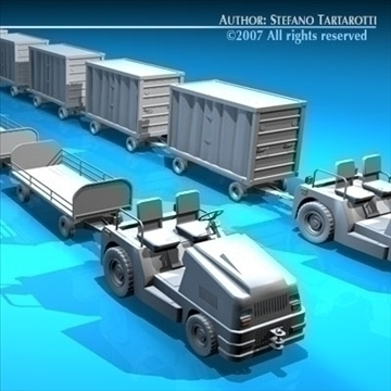 airport baggage trailer 3d model 3ds dxf c4d obj 85585