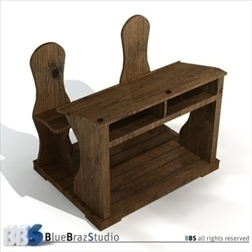 ancient school desk 3d model 3ds dxf c4d obj 106870