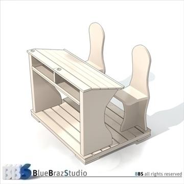 ancient school desk 3d model 3ds dxf c4d obj 106873