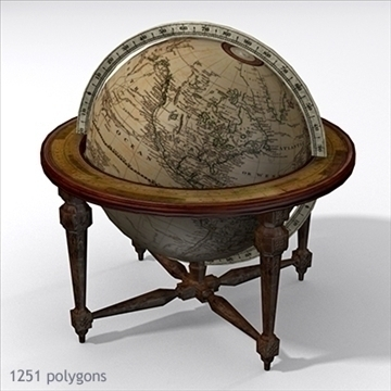 antique globe table 3d model max x other 93098