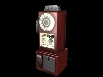 antique payphone 3d model 3ds c4d texture 109128