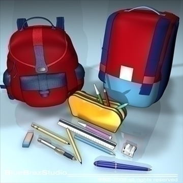 backpack school tools 3d model 3ds dxf c4d obj 94085