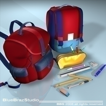 backpack school tools 3d model 3ds dxf c4d obj 94087