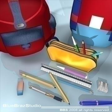 backpack school tools 3d model 3ds dxf c4d obj 94088