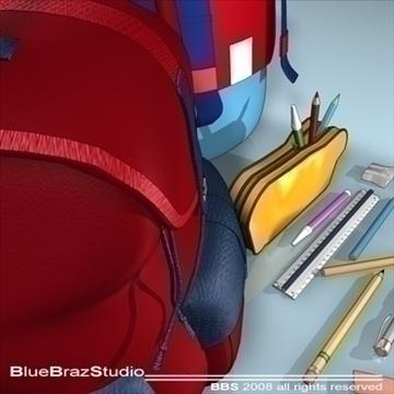 backpack school tools 3d model 3ds dxf c4d obj 94089