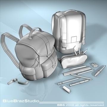 backpack school tools 3d model 3ds dxf c4d obj 94090